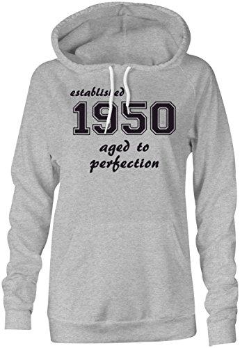 Established 1950 aged to perfection ★ Hoodie Kapuzen-Pullover Frauen-Damen ★ hochwertig bedruckt mit lustigem Spruch ★ Die perfekte Geschenk-Idee (05) grau-meliert
