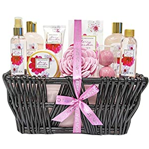 Green Canyon Spa Bath Gift Set for Her Birthday Gift Sets 10 Pcs Cherry Blossom Essential Oil Spa Gift Sets with Handmade Weaved Basket