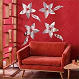 BEST DECOR Flovers Silver(pack Of 4)Acrylic Sticker, 3D Acrylic Sticker, 3D Mirror, 3D Acrylic Wall Sticker, 3D Acrylic Stickers For Wall, 3D Acrylic Mirror Stickers For Living Room, Bedroom, Kids Room, 3D Acrylic Mural For Home & Offices Décor