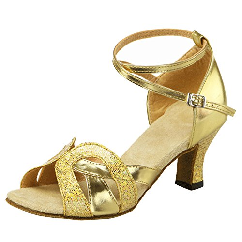 Saltos De Bloco De Cor Sólida Oasap Das Mulheres De Lantejoulas Latina Ouro Sapatos De Dança