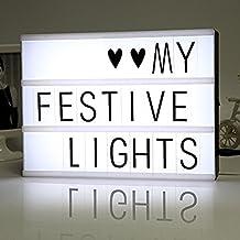 Grefine Combinación Libre Cinematográfico Caja De Luz Tablero De Mensajes Con 90 Cartas Negras, Números, Símbolos y Luz LED A4 Tamaño (Negro)