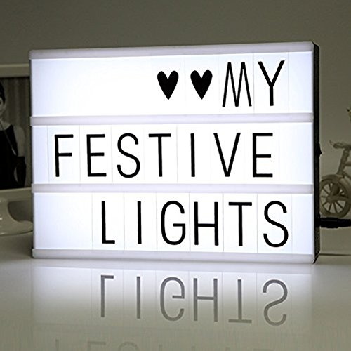 LiliChan Light Up Your Life Cinematic A4 LED ID con 90 Nero lettere, numeri, simboli - Personalizzato Box