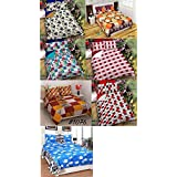 RS Home Furnishing Combo Set Of 7 Glace Cotton Double Bedsheet With 14 Pillow Covers