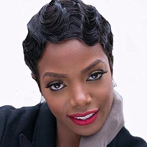 Perruque Bresilienne Naturelle Femme Vrai Cheveux Courte 100% Cheveux Humains Naturels Remy Ondule Noir foncé