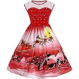 Vestido para Mujer Koly Navidad Vendimia 3D Impresión Cordón Pin Up Oscilación Cordón Fiesta Panel Talla extra Empalme sin mangas Vestir Vestidos de Christmas