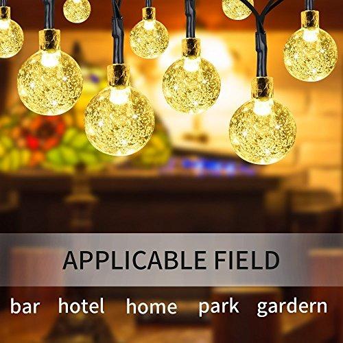 Outdoor Solar Lichterketten 30 LED Kristallkugel Lichterketten für Garten, Terrasse, Zaun, Pavillon, Party, Hochzeit [Energieklasse A +++],WarmWhite 100ma Flexible Solar Panel