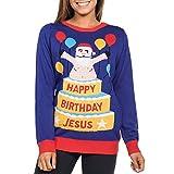 Floweworld Womens Christmas Printed O-Neck Langarm Pullover Sweatshirt Tops Bluse Frau Weihnachten Drucken Lange Ärmel Top