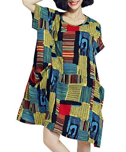 ELLAZHU Femme Été Grande Taille Impression Sleeves Courtes Robe GA622 Yellow