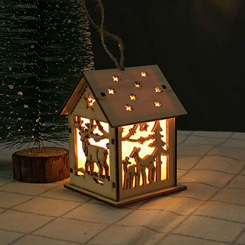 Amphia Weihnachten Dekoration - Weihnachten Beleuchtete Kabine LED Light Wooden Dolls House Christmas Ornaments Weihnachtsbaum hängende Dekor,Leuchtende Kabine -