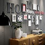 KTYX Moderne einfache Holz Bilderrahmen kreative Foto Wall/Frame Wall 10 Stück Bildrahmen (Farbe : White+black)