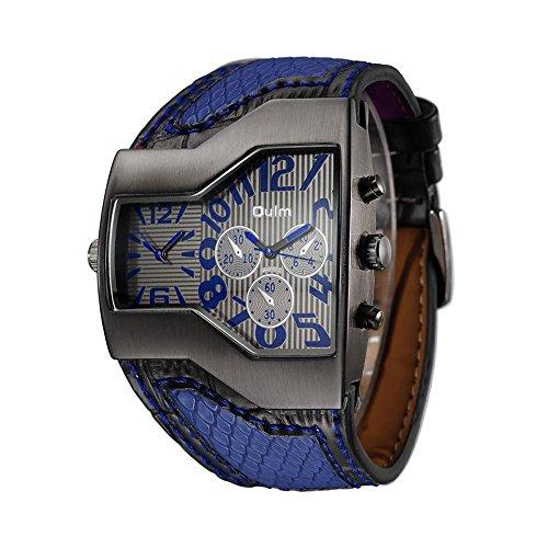 GL Orologio sportivo militare Oversize Multi TimeZones 2 quadranti pelle analogico da uomo, Blu