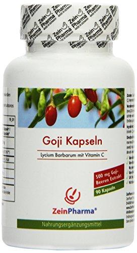 Cápsulas de Goji 500mg de ZeinPharma • 90 cápsulas (un mes de suministro) • puro de bayas de Goji • Hecho en Alemania