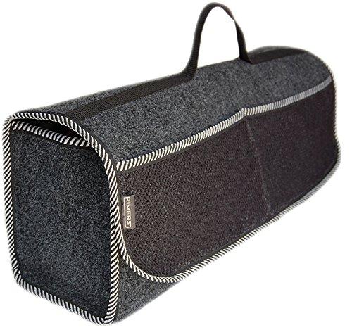 Rimers Kofferraumtasche Grau Auto Tasche Zubehörtasche Car Boot Organiser Toolbag 50x16x21cm Klettverschluss -