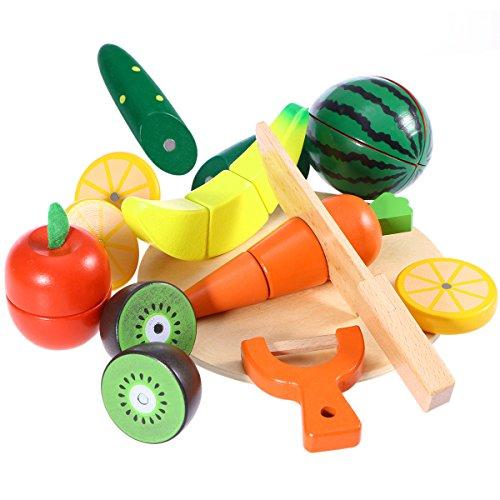 ROSENICE Frutta Verdura Cucina Giocattolo di Legno Alimenti da Tagliare in Legno Set