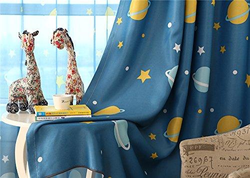 Preisvergleich Produktbild 2er-Set Karikatur blickdichte vorhänge für Kinder Kinderzimmer (245*140 cm, Blauer Planet)