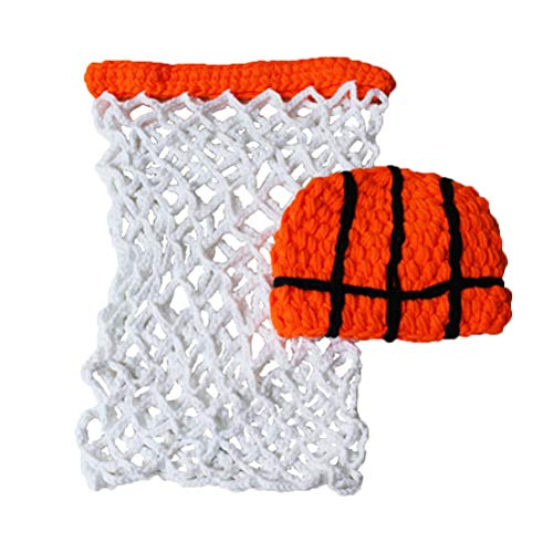 YeahiBaby Baby Fotografie Prop Basketball Outfits Stirnband Strampler Kostüm Häkeln Foto Requisiten 2 stücke