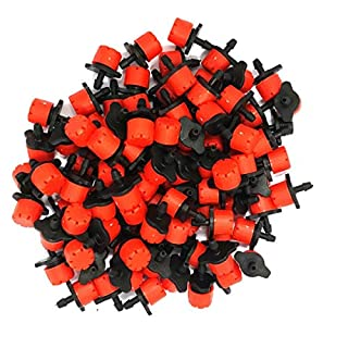 Abrisa 70 Litre Pack of 100 Red Drippers for Micro Irrigation, Black