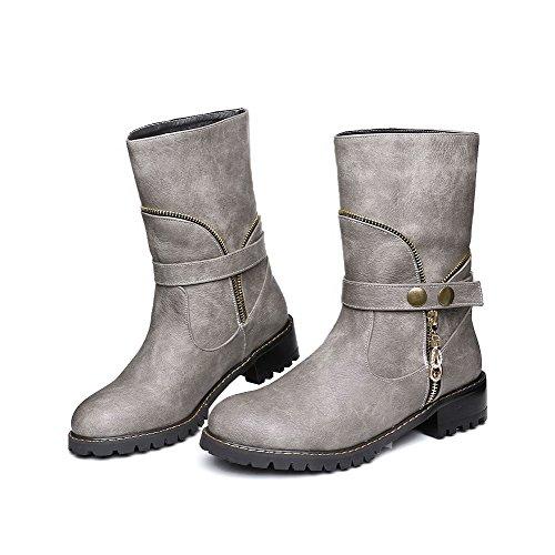 AgooLar Damen Ziehen auf Rund Zehe Niedriger Absatz Niedrig-Spitze Stiefel mit Metallisch, Braun, 36