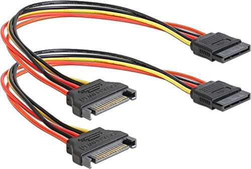 2x DeLock Spannungsversorgungs-Verlängerungskabel - 15 PIN SATA Power (M) - 15 PIN SATA Power (W) -