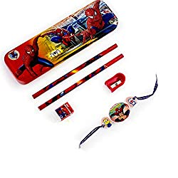 Aapno Rajasthan Spiderman Pencil Box & Rakhi Kids Hamper