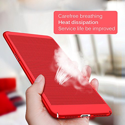 iPhone 6S Plus Coque [Full Protection] 3 en 1 Détachable Couverture, Vandot Ultra Slim Thin Skin Touche Matte Housse Anti-choc Anti-rayures Case pour iPhone 6 Plus / iPhone 6S Plus 5.5 Pouces [Dur Hyb Heat dissipation-Rouge