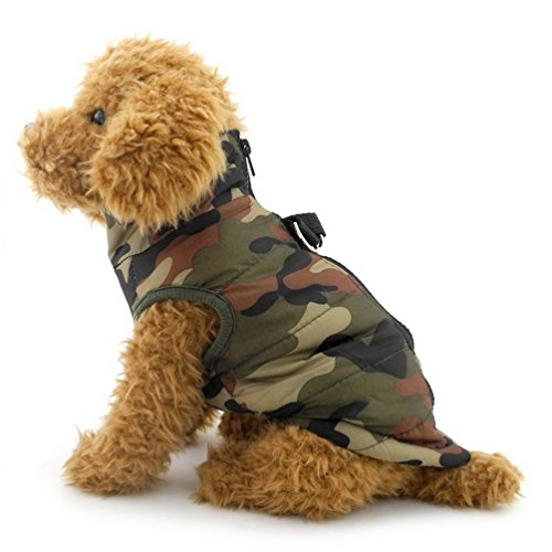 smalllee_lucky_store Small Dog Soft Harness Vest Padded Jacket Zipper Closure Green Camo