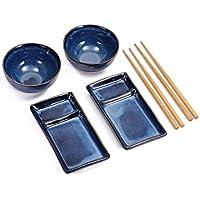 Urban Lifestyle Misaki - Ensemble à Sushi constitué de 2 assiettes à sushi, 2 bols en céramique, 2 paires de baguettes…