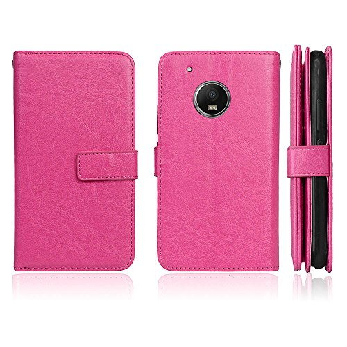 Moto G5 Plus Hülle DENDICO Leder Handyhülle Schlanke Brieftasche Hülle für Moto G5 Plus, Magnet Schutzhülle mit 9 Kartenfach - Rosa -