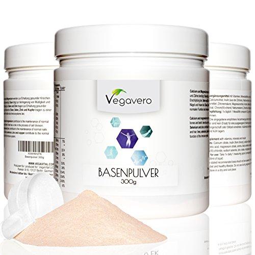 Vegavero Polvere di base alcalina - Vegan | 300 g | preparato per la regolazione degli acidi nel corpo | metabolismo | ossa | con zinco, magnesio, calcio e