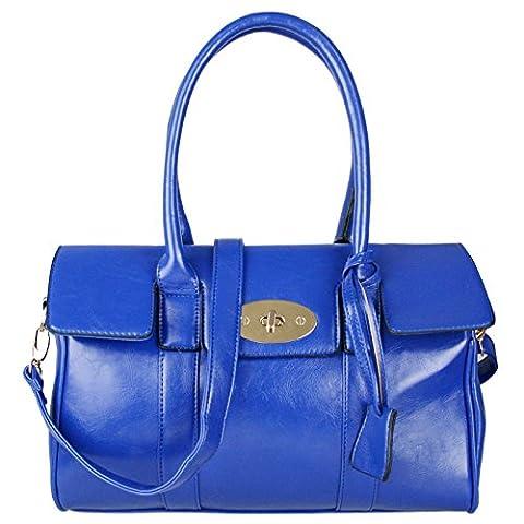 Miss Lulu Faux Leather Fashion Twist Lock Shoulder Handbag (Blue)