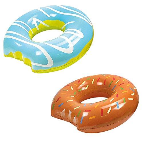 2-teiliges Schwimmring-Set Mega Donut (Blau) + Mega Donut (Braun) - 119cm Durchmesser! - Die echten Hingucker an Strand & Pool!