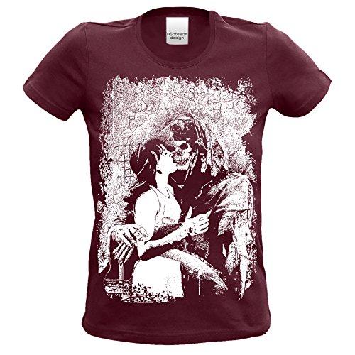 Soreso Design Damen T-Shirt : Sensenmann : Skull Totenkopf Skelett Biker Freizeit Shirt für Frauen Mädchen : Halloween Farbe: Burgund Gr: XL (Kostüm Sensenmann Mädchen)