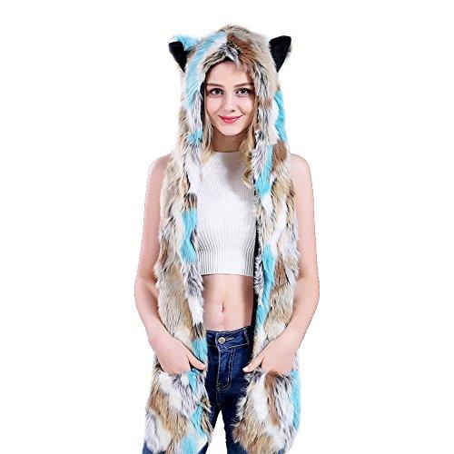 JYSPT Tier Fuchs Kapuzenschal Tiermütze Plüsch Mütze 3 in 1 Kunstfell Ohren mit Handschuhe Schal Kunstfell Winter (Bunt C) (Paare Halloween-nacht-ideen Für)