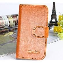 Prevoa ® 丨 ZTE Blade V220 Funda - Flip PU Protictive Funda Case para ZTE Blade V220 5.0 Pulgadas Smartphone - Marron