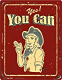 Yes You Can Vintage Retro Girl Stamp Hochwertigen Auto-Autoaufkleber 8 x 12 cm