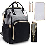 #2: Motherly Babies Diaper Bags for Mothers with 1 Bottle Bag + 1 Changing Mat + 1 Set of Stroller Hooks (Black, Gray)