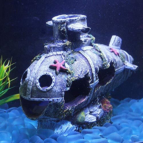 RangYR La Decorazione affondata della caverna di Waterscape del carro Armato di Pesce Sottomarino affondato dell'ornamento dell'acquario della Nave Libera Il Trasporto-Grigio L