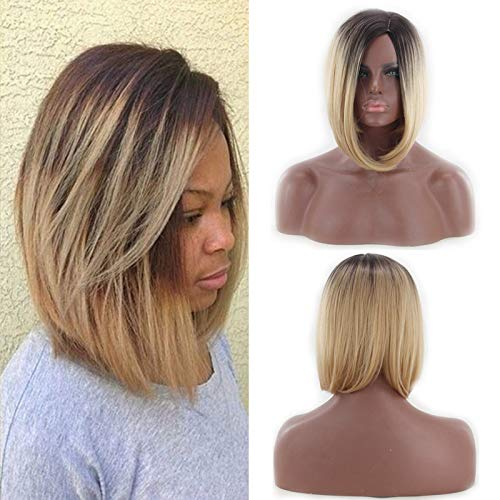 Oyedens Gold Kurze Haare Perücken Welle Kopf Gefärbt Gradient Perücke Frau Farbe Bobo Karneval Afro Perücke Herren