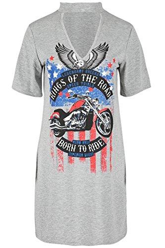Janisramone Damen T-Shirt * Einheitsgröße Grey - Born To Ride
