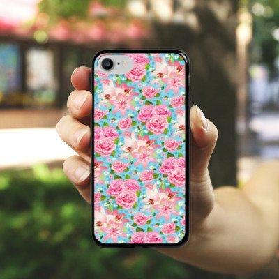 Apple iPhone X Silikon Hülle Case Schutzhülle Rosen Frühling Flower Hard Case schwarz