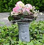 Grabvase zum stecken mit Rose verziert Steckvase 27 cm hoch Grabschmuck Trauerschmuck