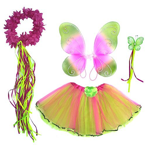 Girls Fairy Costume with Wings, Tutu, Wand & Halo Fits Age 2-7 (hot pink and green)