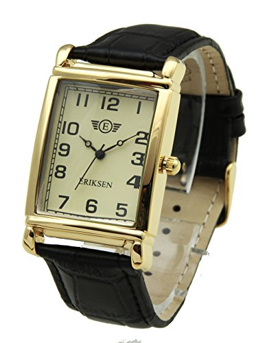 Herren rechteckig Kleid Armbanduhr Schwarz Lederband mcg-blk