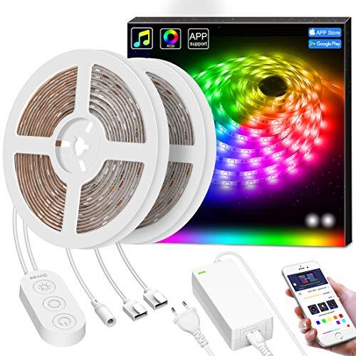 Smart Led Streifen Dreamcolor, MINGER 10M LED Strip Sync mit Musik, Heller 5050 led Band Leiste gesteuert mit Controller & APP, Wasserdicht Selbstklebend LED Schlauch für Innenbereich & Außenbereich -