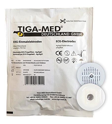Tiga-Med ECG - Electrodos (100 unidades, 45 mm, gel sólido)
