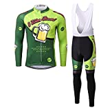 Thriller Rider Sports® Hombre I Like Beer Maillot Manga Largo de Ciclismo y Pantalones Traje Medium