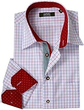 Moschen-Bayern Premium-Class Trachtenhemd Herren Karo Kariert Langarm Kurzarm Baumwolle Slim Fit - Weiß Rot