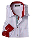 Moschen-Bayern Herren Hemd Trachtenhemd Kariert Slim Oktoberfest Rot Weiß 41 Large
