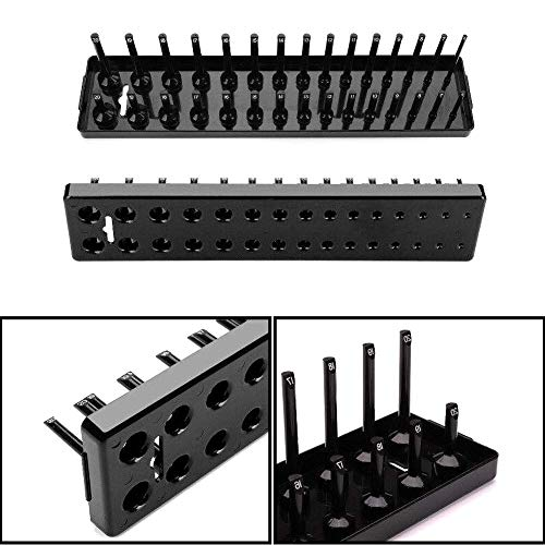 0.375 Drive Deep Socket (Beaulies 3 pcs Socket Organizer Tray Set, Red & Black Metric Socket Storage Trays, 1/4-Inch, 3/8-Inch & 1/2-Inch Drive Deep and Shadow Socket Holders for Toolboxes (Black))
