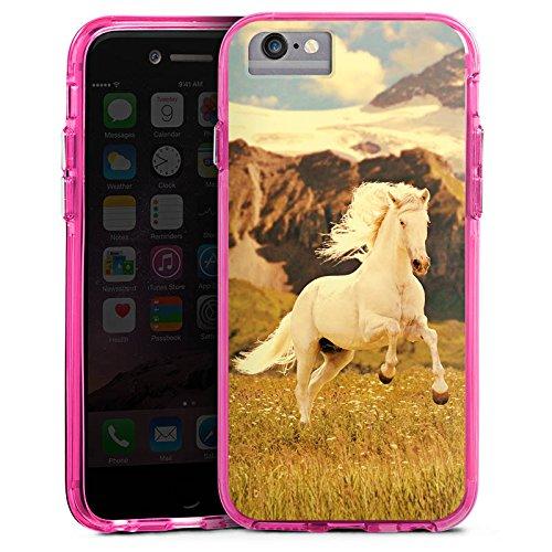 Apple iPhone 6s Plus Bumper Hülle Bumper Case Glitzer Hülle Weisses Pferd Hengst Mustang Stute Bumper Case transparent pink